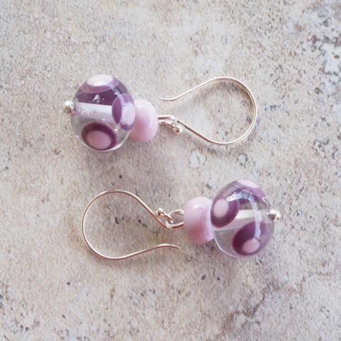 Handmade glass bead earrings - pink