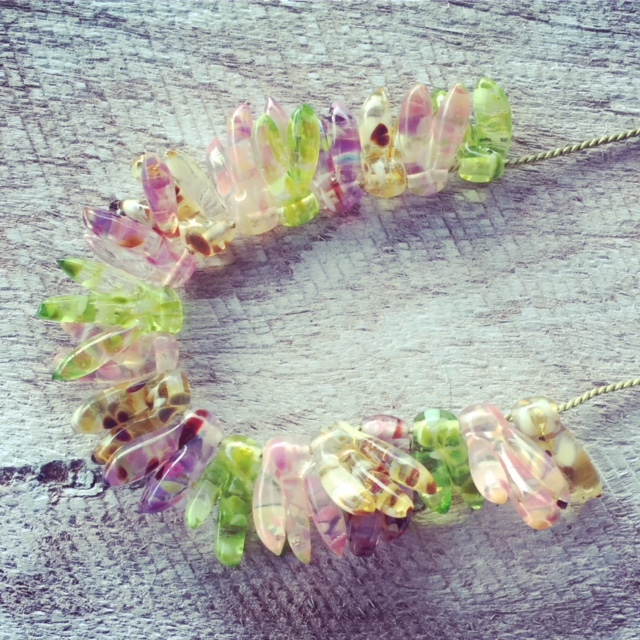 Recycled glass necklace   beads made from a broken window