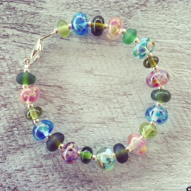 Recycled glass bracelet | beads made from wine bottles from Bethany Wines