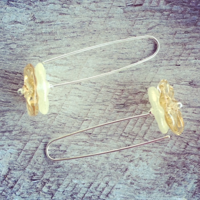 Recycled glass bead earrings | beads made from a mix of glass objects