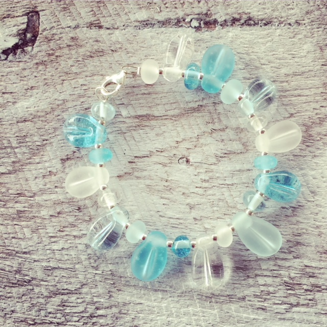 Recycled glass bead bracelet | leaf beads made from wine and gin bottles