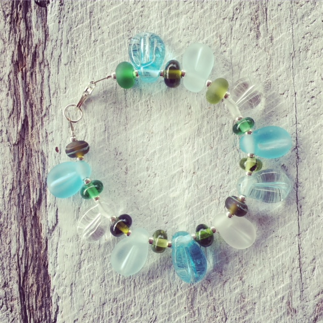 Recycled glass bead bracelet | beads made from wine and gin bottles