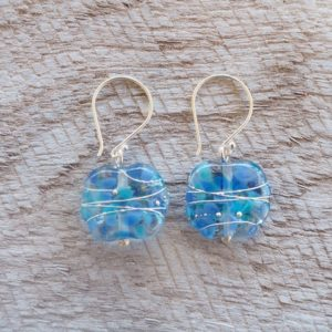 Recycled glass earrings | beautiful blue recycled glass earrings