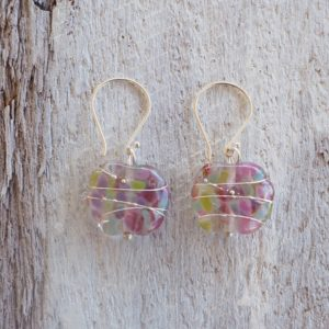 Recycled glass earrings | pretty pink/green recycled glass earrings