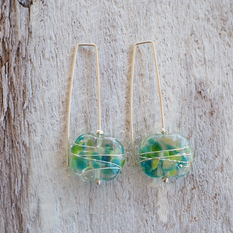 Recycled glass earrings | pretty long green recycled glass earrings