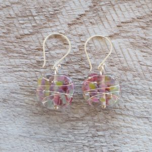 Recycled glass earrings | pretty pink/purple tones