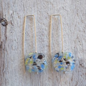 Recycled glass earrings | handmade glass beads made from a wine bottle
