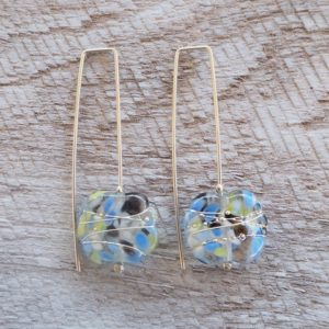 Recycled glass earrings | pretty recycled blue/green recycled glass earrings