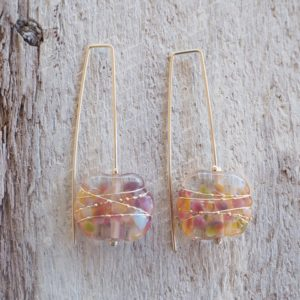 Recycled glass earrings | pretty pink earrings made from a wine bottle