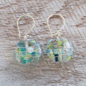 Recycled glass earrings | pretty green/blue earrings made from a wine bottle