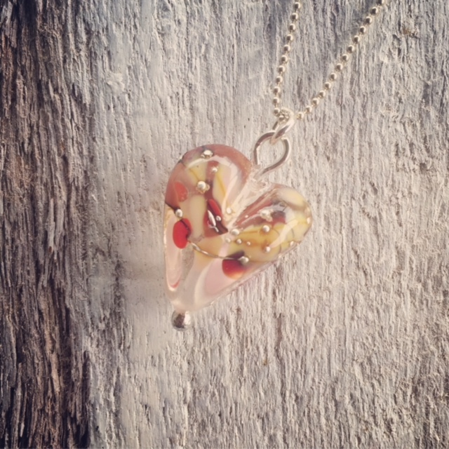 Recycled glass necklace | heart-shaped bead made from a wine bottle