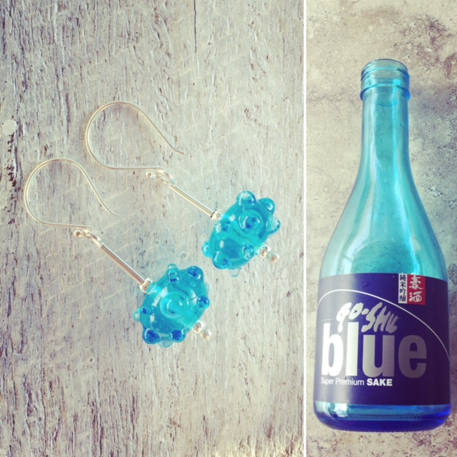 Recycled glass earrings   handmade glass beads made from a sake bottle