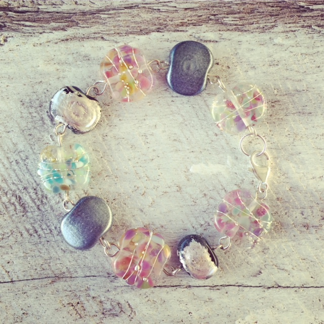 Recycled glass bracelet | beads made from wine and gin bottles