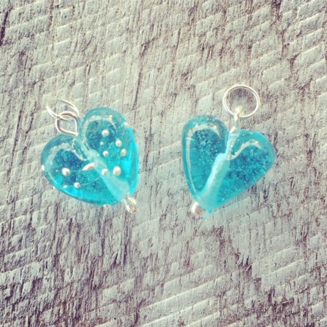 Recycled glass jewellery   pendants made from Bombay Sapphire gin bottles