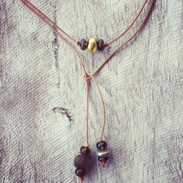 Recycled glass jewellery | a casual lariat made from beer and champagne bottles