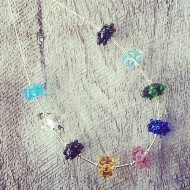Recycled Glass Necklace | beads made from assorted recycled glass objects.