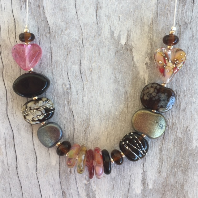 Recycled glass necklace | beads made from Ruby glass, gin, wine and beer bottles