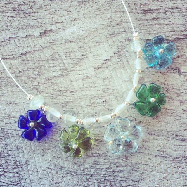 Recycled glass necklace | featuring pretty flower beads from vodka, wine and gin bottles
