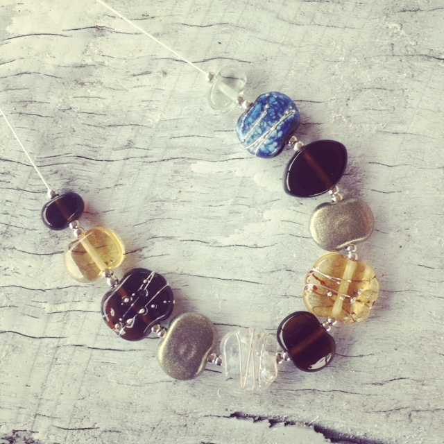 Recycled glass necklace | beads made from beer and gin bottles and old glass cups
