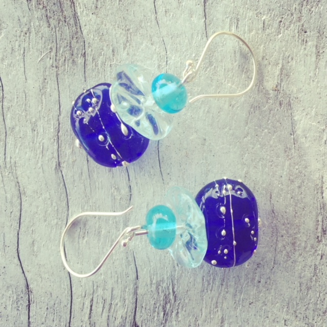 Recycled glass earrings | beads made from vodka, wine and gin bottles.