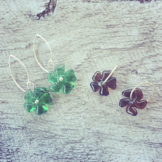 Recycled glass earrings | beads made from Tanqueray and Hendricks Gin bottles
