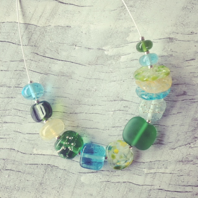 Recycled glass necklace | a mix of beads in this necklace make it a perfect cocktail necklace