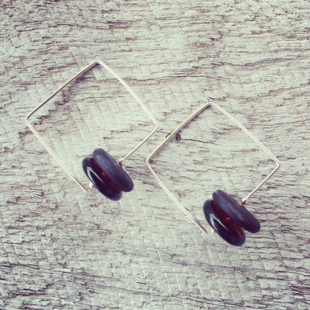 Recycled glass earrings | square hoop earrings featuring beads made from a Coopers Ale bottle