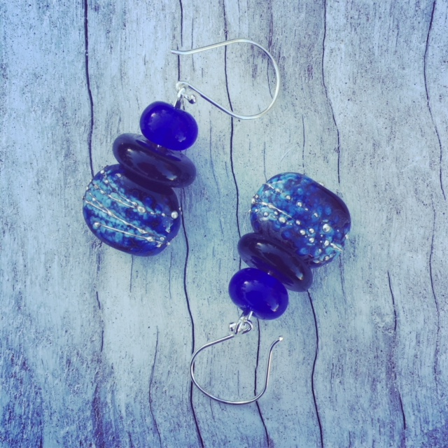 Recycled glass earrings | beads made from a Hendricks Gin and Skyy Vodka bottle
