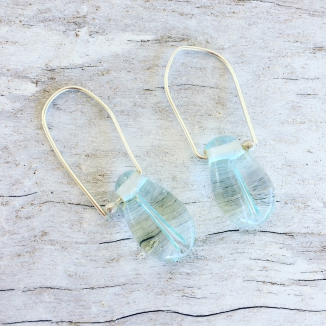Recycled glass earrings | glass beads made from a Banrock Station wine bottle