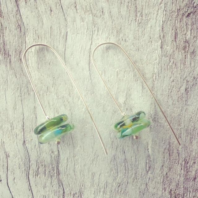 Recycled glass earrings | long earrings made from wine bottles