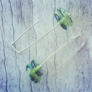 Recycled glass earrings | beads made from a Bethany Winery Chardonnay bottle