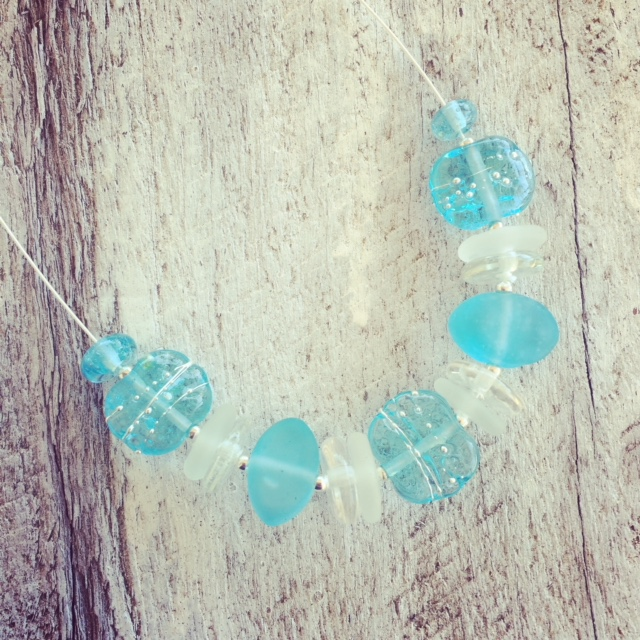 Recycled glass necklace | gin and tonic beads