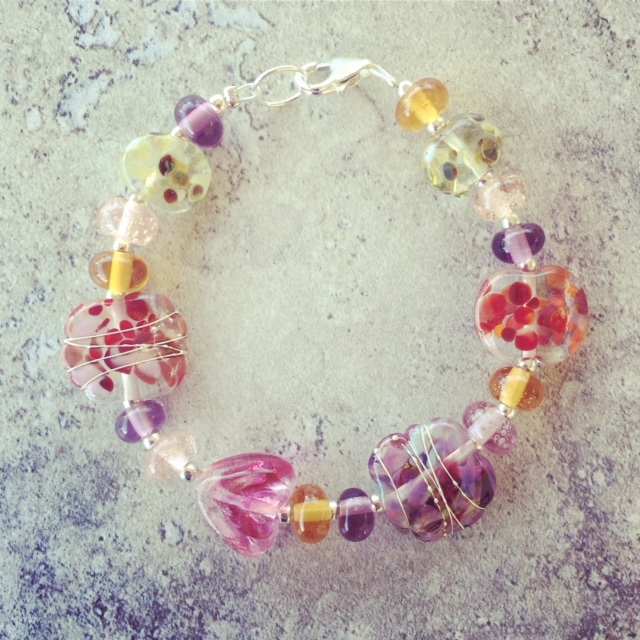 Recycled glass bracelet | earthy coloured beads made from various recycled glass objects