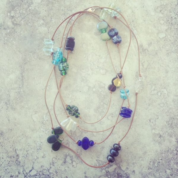 Recycled glass necklace | mixed beads feature in this necklace, from vodka, wine, gin and beer bottles.
