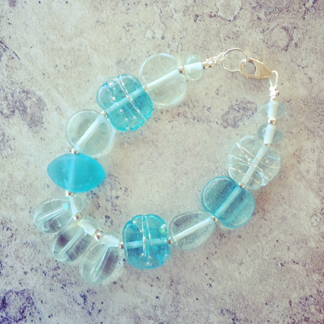 Recycled glass bracelet | glass beads made from wine and gin bottles