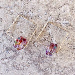 Recycled glass earrings   purple earrings made from a wine bottle