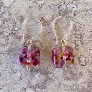 Recycled glass earrings | purple earrings made from a wine bottle