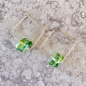 Recycled glass earrings | green earrings made from a wine bottle