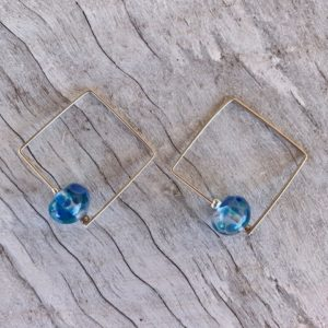 Recycled glass earrings | blue earrings made from a wine bottle