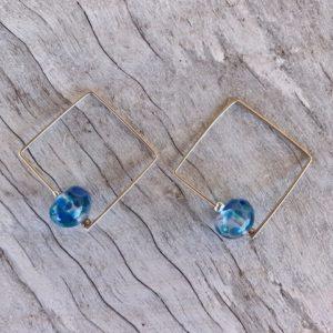 Recycled glass earrings | blue earrings made from a wine bottle