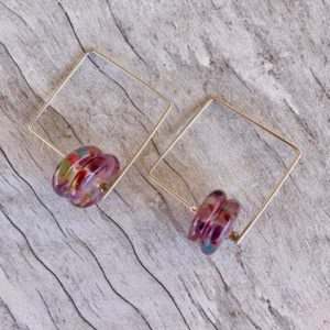 Recycled glass earrings | purple earrings made from a wine bottle