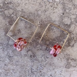 Recycled glass earrings | pink/red earrings made from a wine bottle
