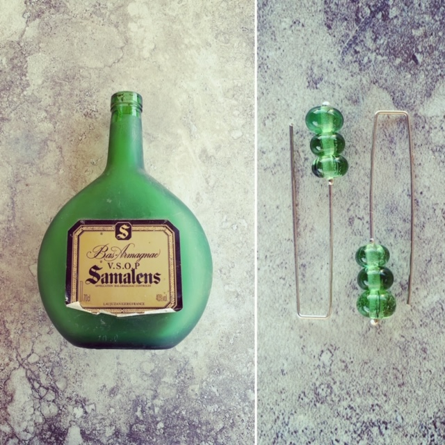 Recycled glass earrings | beads made from a sand-blasted green bottle