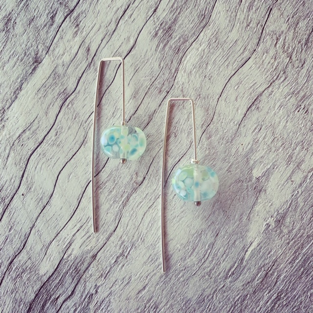 Recycled glass earrings | beads made from a Banrock Station wine bottle