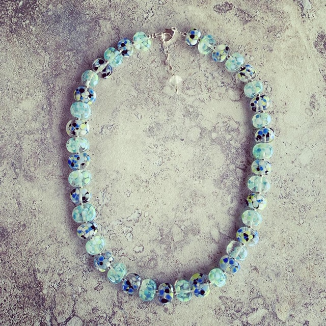 Recycled glass necklace | beads made from a wine bottle