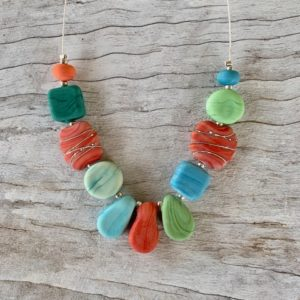 Coral blue green necklace