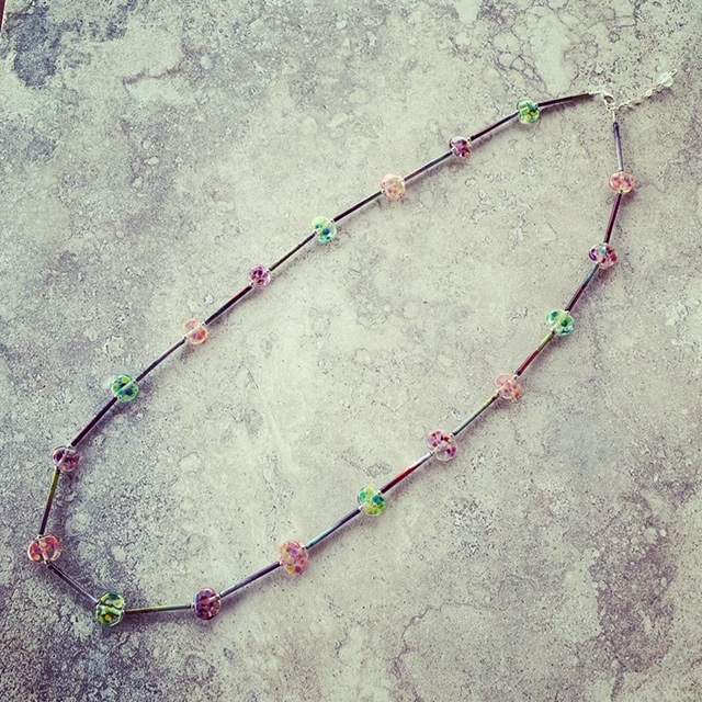 Recycled glass necklace | beads made from a Bethany Wines bottle