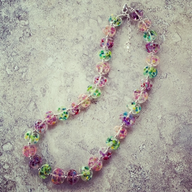 Recycled glass necklace for Vintage Festival at Bethany Wines
