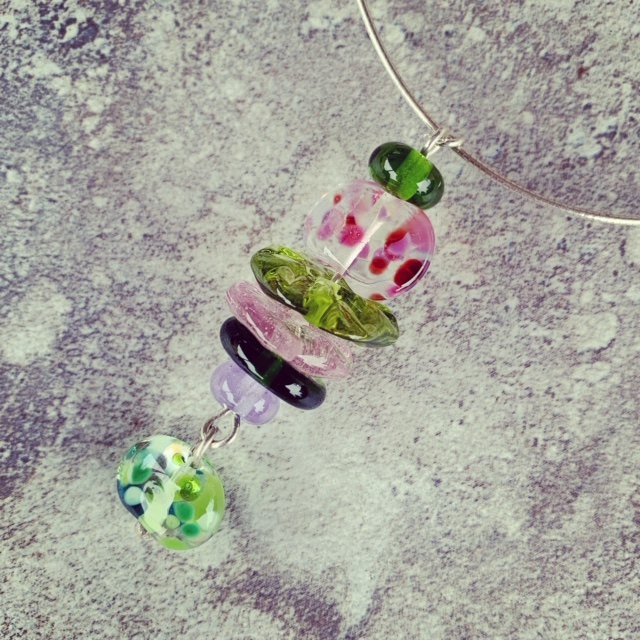 Recycled glass pendant necklace | recycled glass beads made from wine and champagne bottles