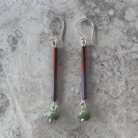 Green enamel earrings - handmade glass beads